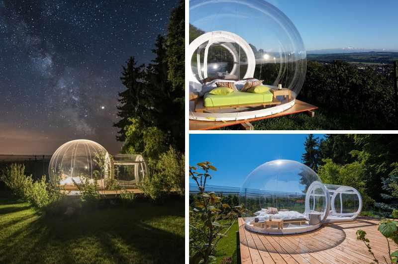 Bubbel Hotels Schweiz: Übernachtung im Thurgauer Himmelbett an mehreren Standorten am Bodensee (drei Ansichten bei Tag und unterm Sternenhimmel)