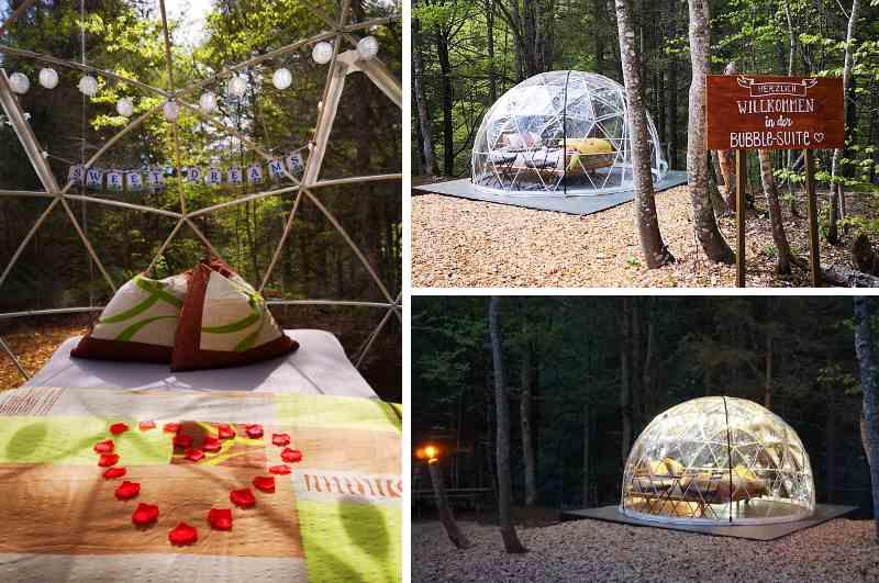 Mitten im Wald Schlafen ermöglicht die Bubble Suite auf der Engstlenalp im Berner Oberland (Schweiz) Innen- und Aussenansicht Geodesic Dome
