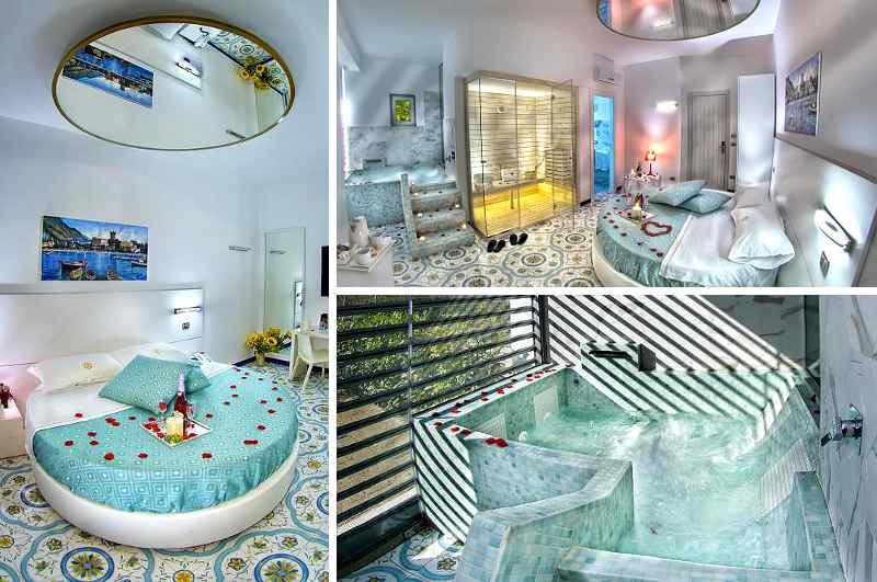 Rundbett mit Spiegel an der Decke sowie Whirlpool & Sauna im Zimmer erwartet die Gäste des italienischen Erotikhotels x-hotel Saviano nahe Neapel
