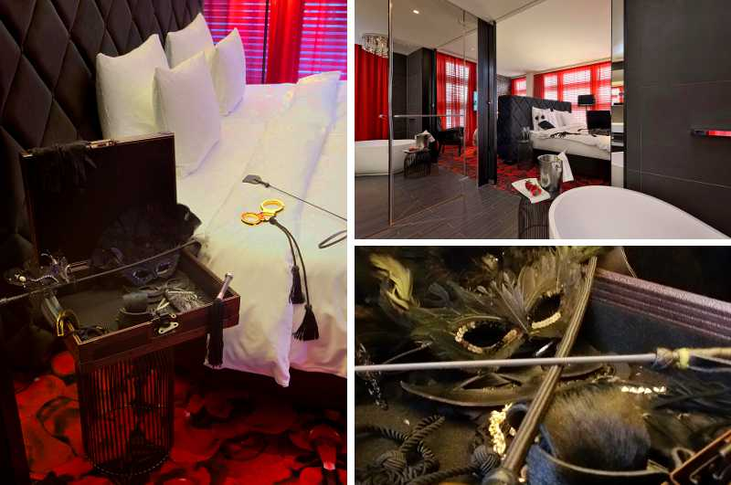 Zu den exklusivsten Loverooms und Erotikhotels der Schweiz darf sich die Suite Burlesque des Kameha Grand Hotel in Zürich rechnen. Inbegriffen ist ein Koffer mit SM-Zubehör im Stil von Fifty Shades of Grey