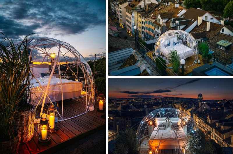 Die Rooftop Bubble auf dem Dach des Hotel Widder in Zürich bietet spektakuläre Aussichten von oben auf die größte Stadt der Schweiz