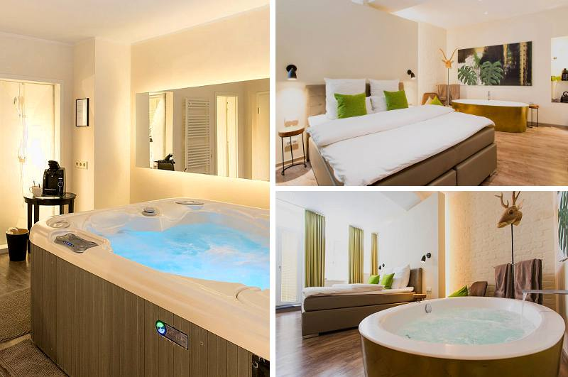 Gleich mehrere Hotelzimmer mit Whirlpool hat das 1st Floor Mini-Hotel Köln in NRW anzubieten