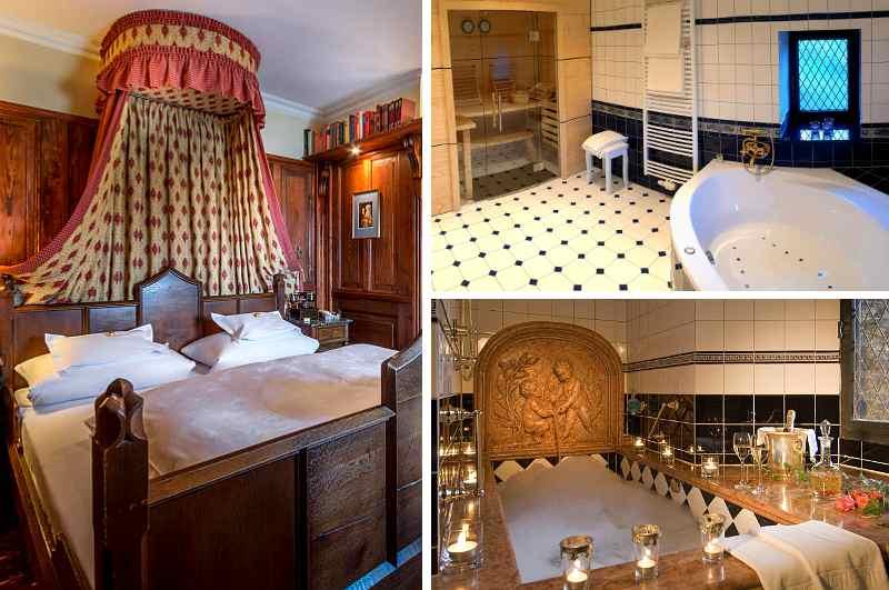 Eine Suite nur für Erwachsene mit Himmelbett, Whirlpool und privater Sauna bietet das Burghotel Auf Schönburg in Rheinland-Pfalz