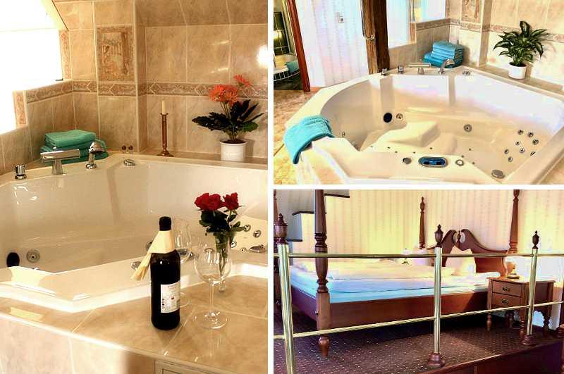 Mit einem luxuriösen Whirlpool ist dieses Hotelzimmer im Hotel Alte Fischerkate in Brandenburg ausgestattet.