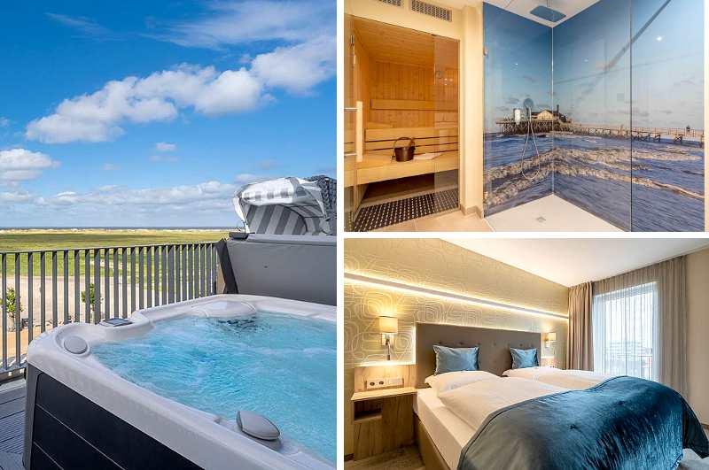 Die beiden Spa-Suiten des Ambassador Hotel & Spa in St Peter Ording verfügen über Sauna sowie eine Dachterrasse mit Whirlpool und Nordsee-Blick