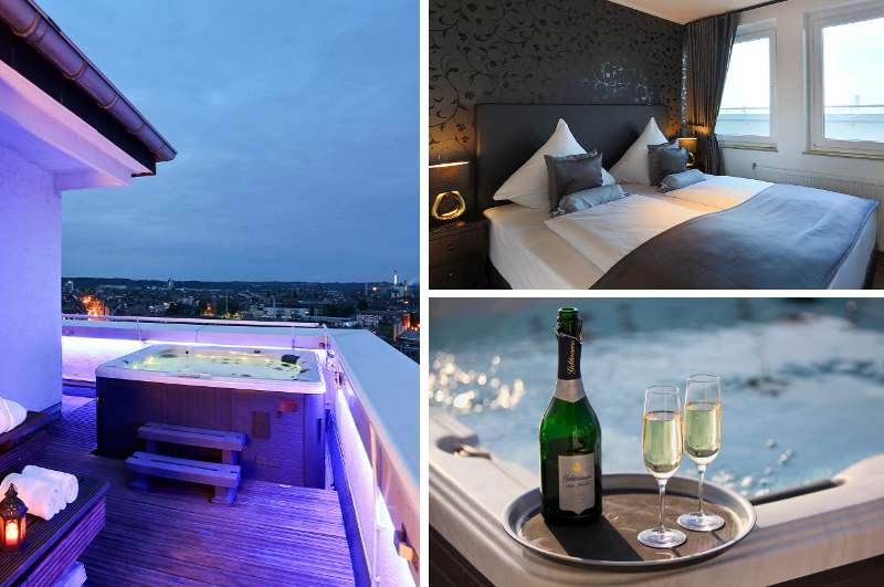 Eine exklusive Penthouse Suite mit Whirlpool auf der Dachterrasse und Blick auf die Düsseldorfer Innenstadt bietet in NRW nur das Hotel Asahi