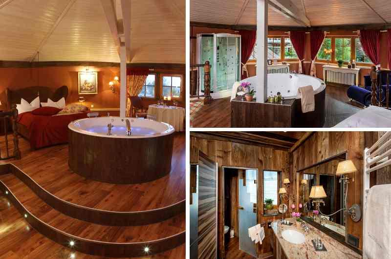 Mit eigenem Whirlpool, privater Sauna und Dampfdusche lockt die elegante Spa-Suite im Ayurveda Seeschlösschen nach Senftenberg