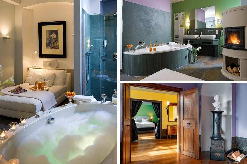 Die Biedermeier Suite des Jugendstil Hotels Bellevue in Traben-Trarbach bietet Gästen neben einem offenen Kamin und privater Sauna auch eine Whirlpool-Wanne im Zimmer
