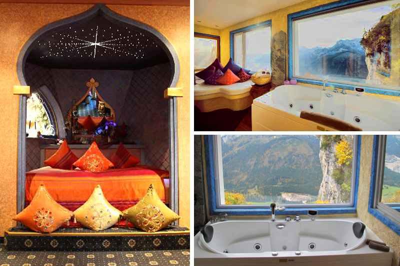 Mit Whirlpool im Zimmer und teils spektakulären Ausblicken begeistert das Burghotel Falkenstein in Pfronten (Allgäu) seine Gäste