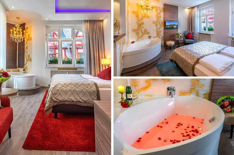 Hotelzimmer mit Whirlpool-Badewanne für eine Auszeit zu zweit in Rheinland-Pfalz hat das Dettmar Hotel am Markt in Bacharach im Angebot.