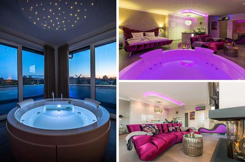 Eine romantische Auszeit in Mecklenburg-Vorpommern verspricht die Penthouse Spa Suite Dolce Vita in Göhren-Lebbin mit Whirlpool & Sauna sowie Tantraliege und Kaminfeuer
