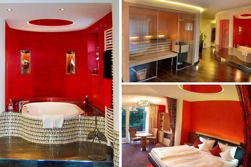 In der Private Spa Suite des Esseler Wellness Hotels Heide-Kröpke erwartet die Gäste neben Wasserbett und finnischer Sauna auch ein privater Whirlpool im Zimmer