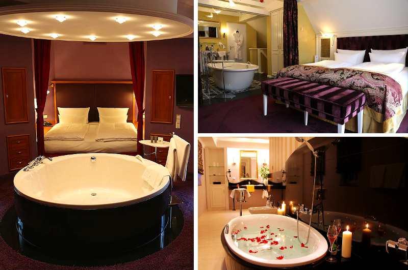 Badewannen mit Whirlpool-Funktion sind in vielen Suiten des Spa- und Wellnesshotels Bei Schumann im sächsischen Kirschau selbstverständlich