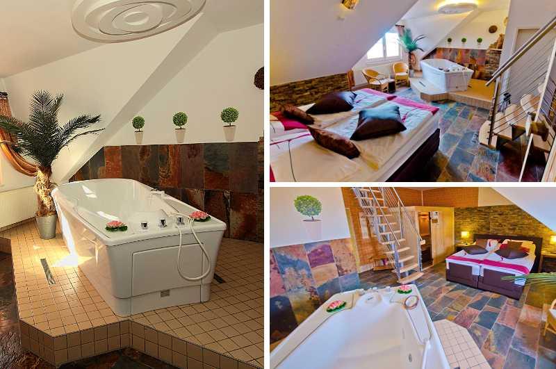 Das absolute Highlight der Wellness-Suite im Hotel am Uckersee in Brandenburg ist die zimmereigene Whirlwanne.