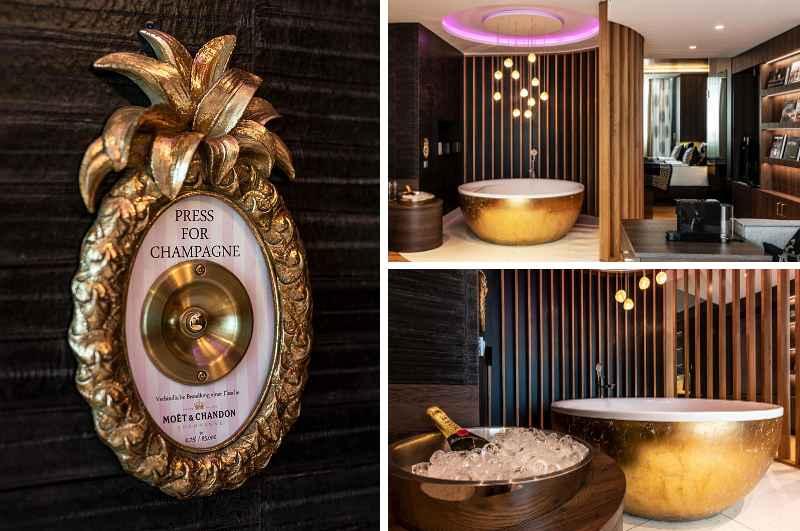 Mit Whirlpool im Zimmer locken gleich mehrere Suiten des exklusiven Hotels Block & Living in Ingolstadt (Bild: Owner Suite mit Champagner-Knopf)