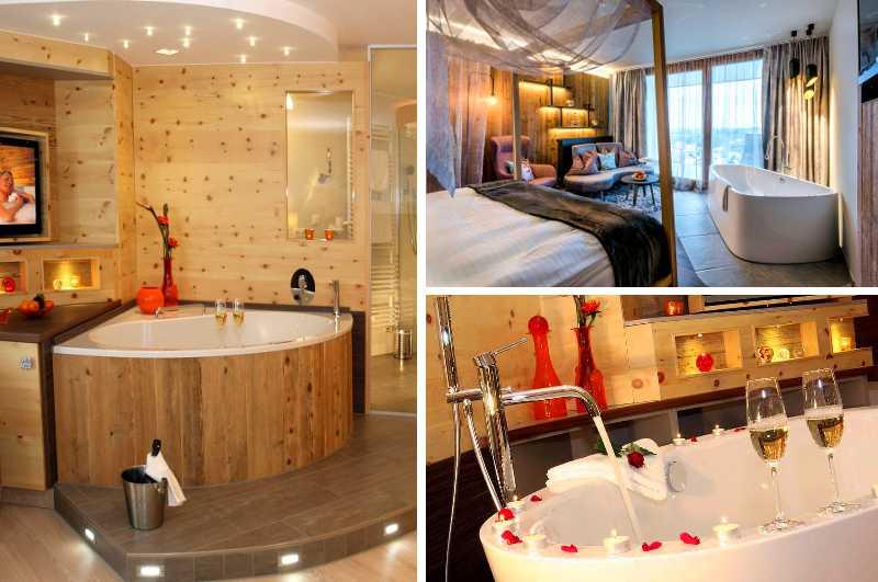 Mit seinen Spa Suiten besitzt das Hotel Hüttenhof im Bayerischen Wald ein vielfältiges Angebot an Hotelzimmern mit Whirlpool