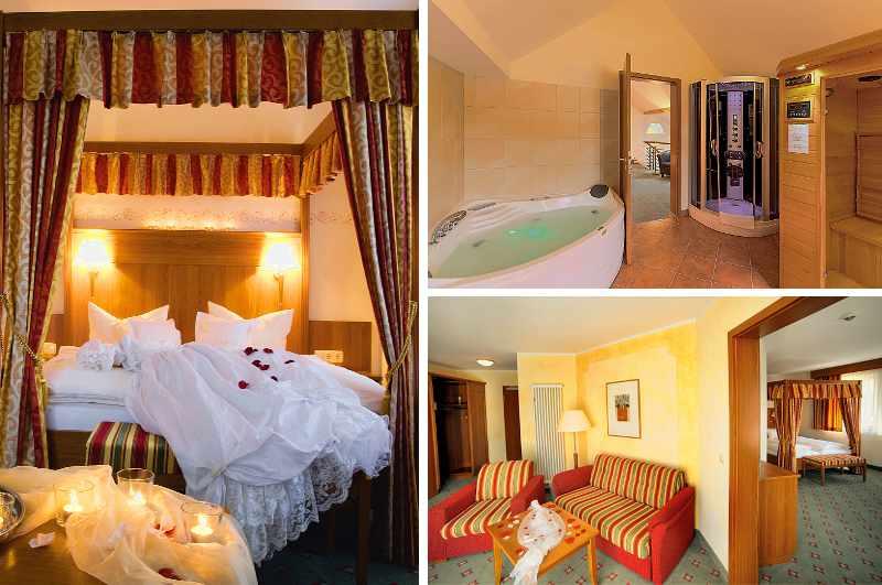 Die Wellness-Suite des Hotel Kloster Nimbschen im sächsischen Grimma bietet neben Himmelbett und Whirlpool sogar eine private Sauna