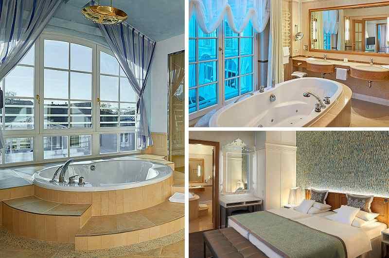 Zahlreiche Suiten des Hotels Kurhaus Binz auf der Insel Rügen offerieren ihren Gästen einen imponierenden Whirlpool im Badezimmer