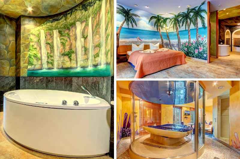 Mit einem extra großen Whirlpool für zwei ist das Hotelzimmer Meereslagune im Wellnesshotel Seeklause auf Usedom ausgestattet