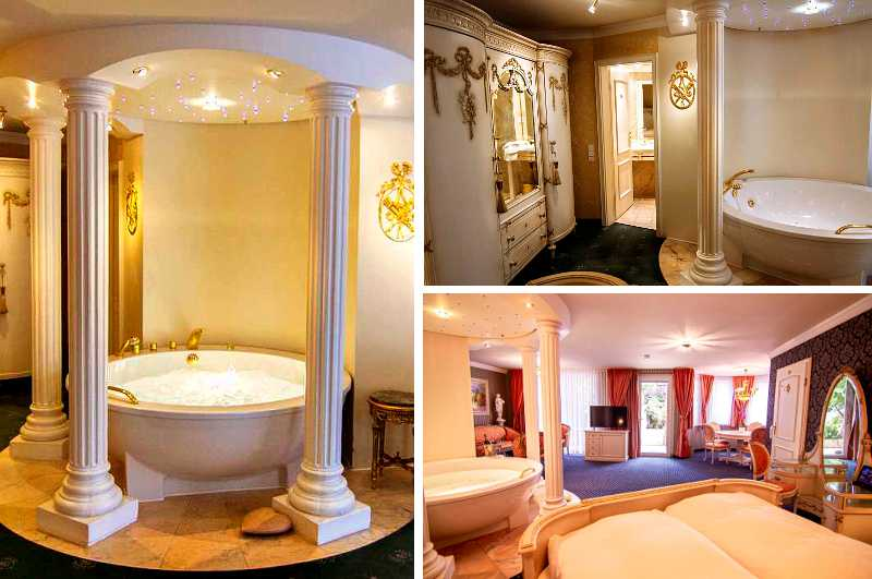 Das Privathotel zur Weinsteige gehört nicht nur in Stuttgart zu den exklusivsten Hotels mit Whirlpool im Zimmer (Bild: Schlösschen Suite Louis XVI)
