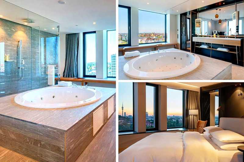 Neben einer herrlichen Aussicht auf München bietet die Penthouse Suite im elften Stock des Hyatt Hotels Andaz Schwabinger Tor auch einen luxuriösen Whirlpool