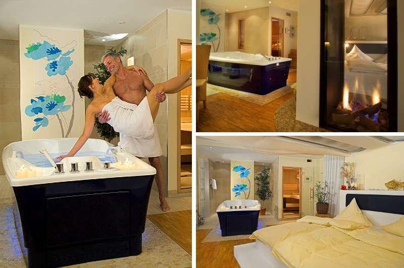 Eines der schönsten Hotelzimmer mit Whirlpool in NRW: die Wellness-Suite im Jammertal Resort Münsterland