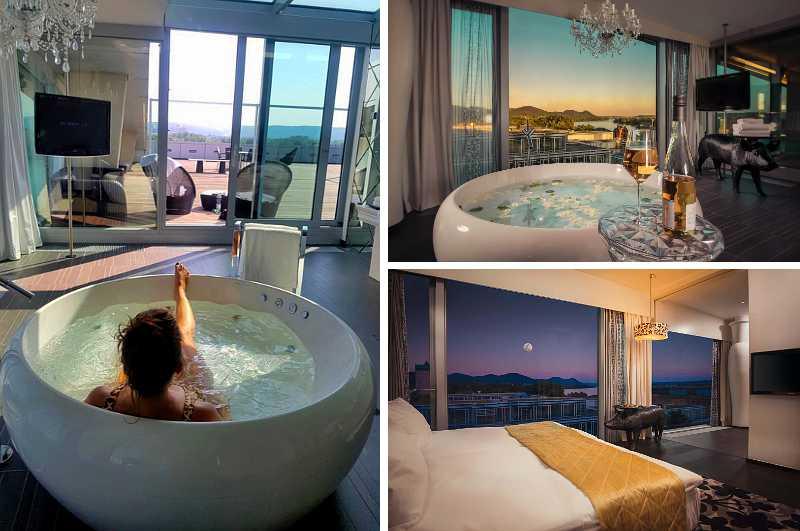 Mit einem runden Whirlpool im Zimmer gehört die King Suite des Kameha Grand Hotels in Bonn zu den exklusivsten Quartieren am Rhein