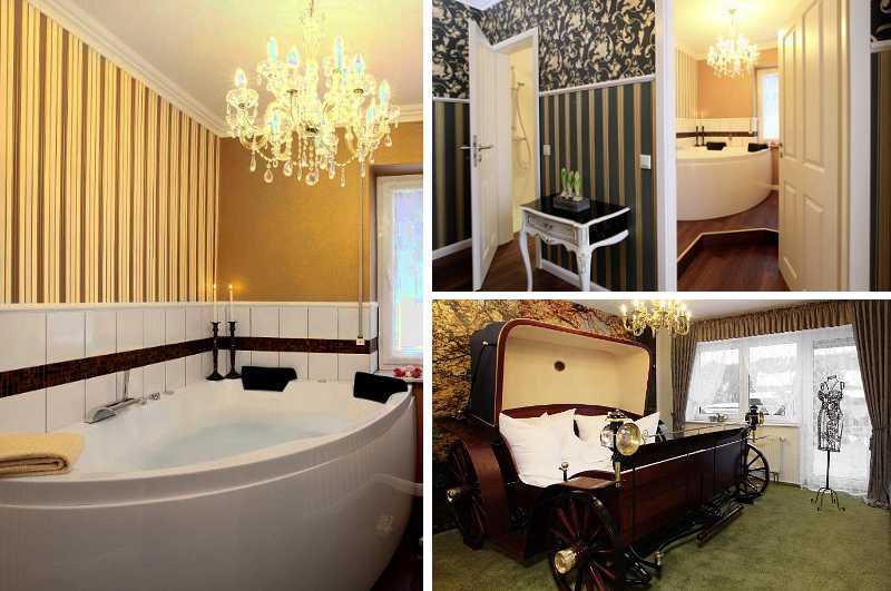 Mit einem königlichen Bett in Kutschenform und Whirlwanne fällt die Victoria Suite der Pension Voss in Winterberg auch über NRW hinaus zu den bemerkenswertesten Hotelzimmern mit Whirlpool