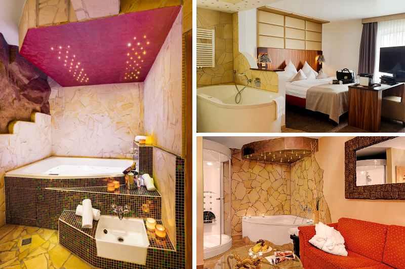 Mit der Main Spa Suite und der Spa Suite Life besitzt das Lifestyle Resort Zum Kurfürsten in Rheinland-Pfalz gleich zwei Hotelzimmer mit Whirlpool-Wanne
