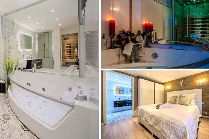 Mit Whirlpool und Sauna stellt das Wellness Apartment der Luxuslodge Wernigerode jedes Hotelzimmer in Sachsen-Anhalt in den Schatten