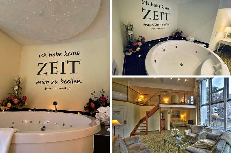Über einen riesigen Whirlpool für zwei verfügt die Maisonette Suite in Nells Parkhotel im rheinland-pfälzischen Trier