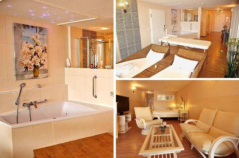 Begehrtes Hotelzimmer mit eigener Sauna und Whirlpool in Brandenburg: die Wellness-Suite im Panoramahotel Uckermark