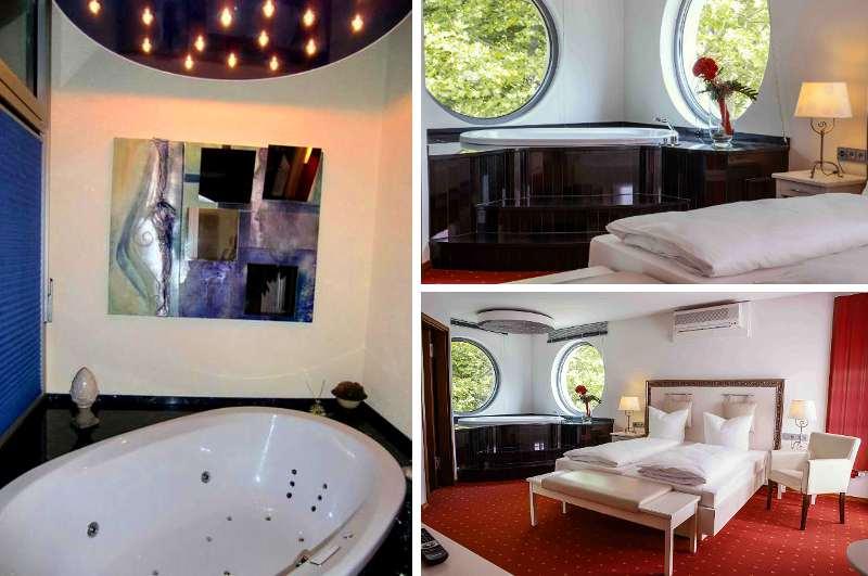 Die Rosentraum Suite im Parkhotel Völklingen ist eines der wenigen Hotelzimmer mit Whirlpool im Saarland