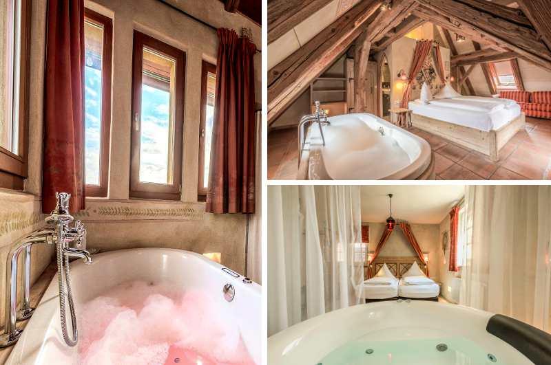 Mit Whirlpool im Zimmer können auch die Gäste des urigen Mittelalter Hotels Arthus in Aulendorf entspannen