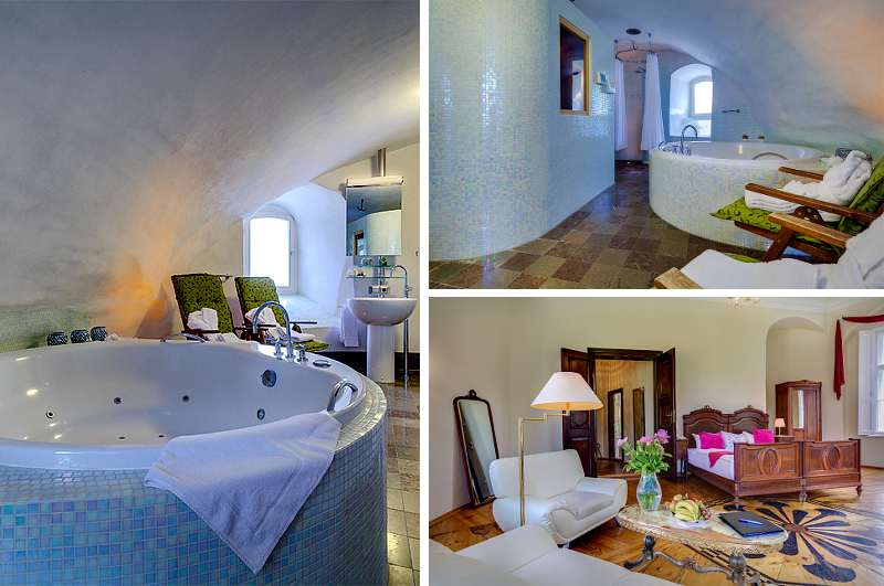 Sauna & Whirlpool machen die Fürstensuite im Schlosshotel Drehna in Brandenburg zur echten Wellness-Oase