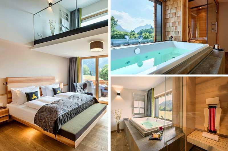 Mit eigener Sauna und Whirlpool Badewanne im Zimmer punkten die Suiten des Hotels Klosterhof Alpine Hideaway & Spa in Bayerisch Gmain