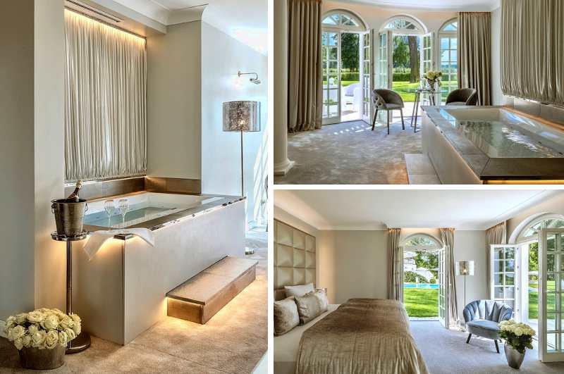 Eine luxuriöse Suite mit Whirlpool ist der ganze Stolz des Hotel Villa Contessa im brandenburgischen Bad Saarow