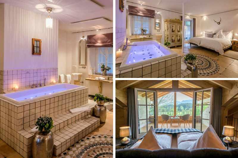 Sogar über einen romantischen Jacuzzi für zwei verfügt die luxuriöse Premium Lodge im Allgäuer Talgut Ofterschwang