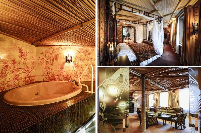 Unter den mehr als 100 Suiten im Hotel Bayerischer Hof in München gibt es auch Hotelzimmer mit Whirlpool wie die exotische Trauminsel Suite