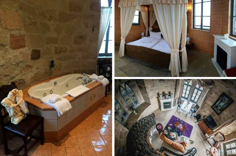 Als romantische Hochzeitssuite auf drei Etagen erweist sich das Turmzimmer des Hotels Schlossberg im thüringischen Sonneberg, inklusive Himmelbett und Whirlwanne