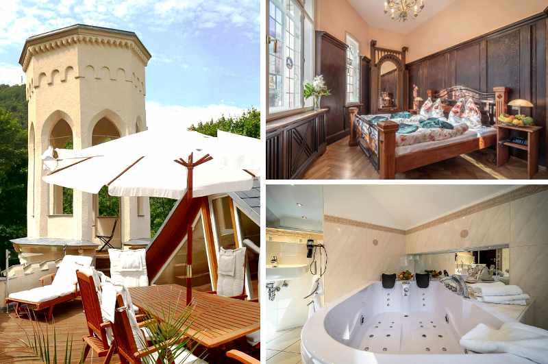 Die Turmwohnung der Villa Rosenburg in Thale verspricht mit Terrasse und Whirlwanne eine entspannte Auszeit im Harz