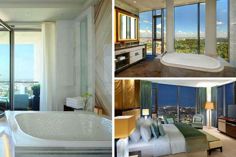Neben einem Logenplatz mit Blick auf den Berliner Zoo bietet die Präsidentensuite des Hotels Waldorf Astoria auch einen Whirlpool im großzügigen Badezimmer