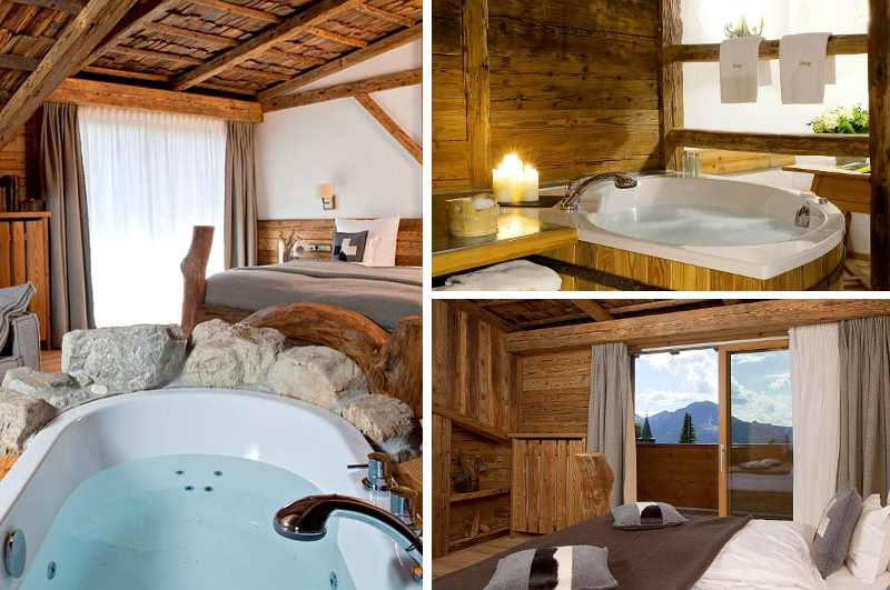 Die luxuriösen Stadlsuiten des Resort Hotels Lanig in Bad Hindelang sind mit privatem Whirlpool im Zimmer ausgestattet