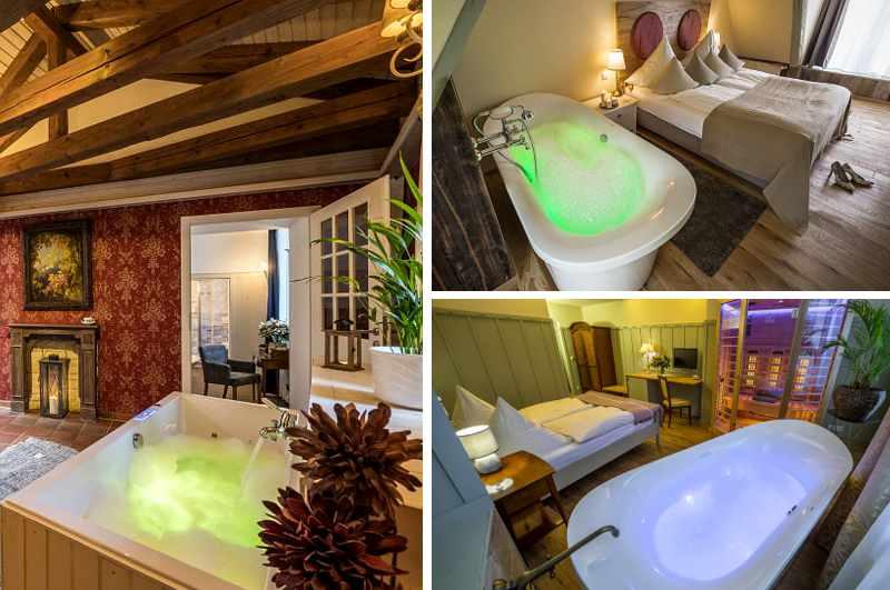 Mit Whirlpool und Sauna im Zimmer erwartet Gäste des Hotels Goldenes Fass in Meißen die ultimative Wellness-Erfahrung in Sachsen