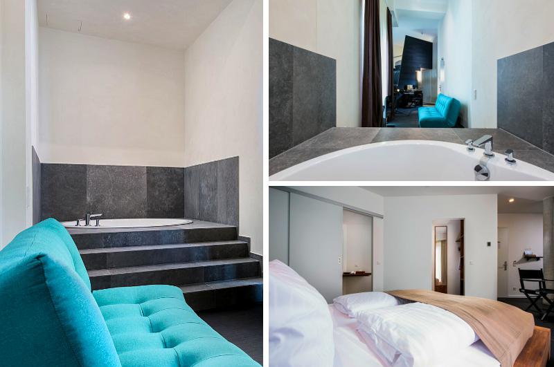 Eines der schönsten Hotelzimmer mit Whirlpool in Berlin: die Spa Suite im Design-Hotel Almodovar