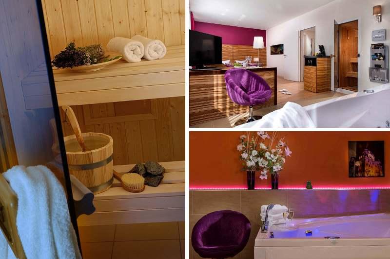 Hinter der Love Suite im Sorat Hotel Ambassador in Berlin verbirgt sich ein Hotelzimmer mit Whirlpool-Badewanne und privater Sauna